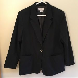 Dress barn black fully lined one button blazer 16